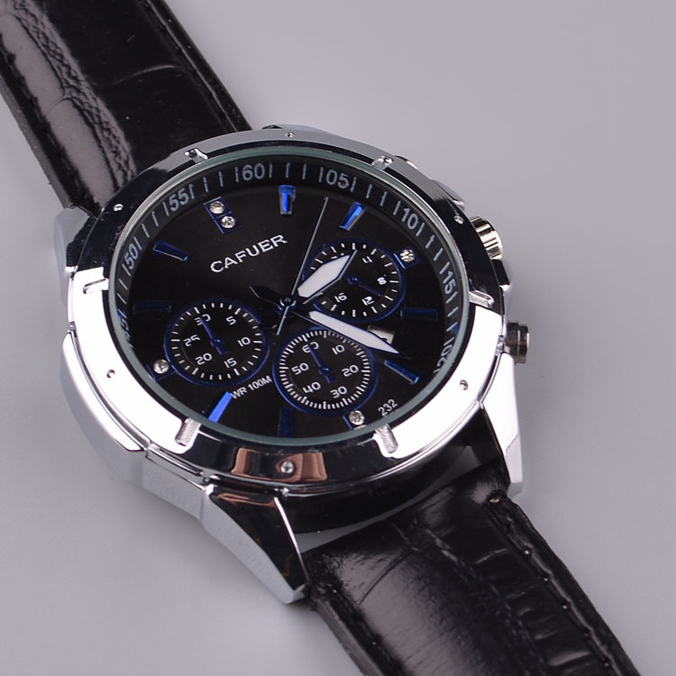 black tq watch silver watches strap leather products peugeot