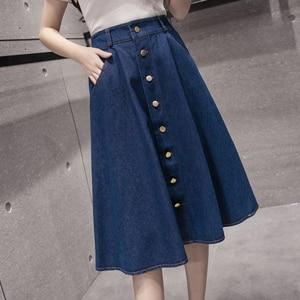 Image 3 - Женская джинсовая юбка, однотонная длинная юбка в Корейском стиле с высокой талией и широким подолом, Повседневная Джинсовая юбка на пуговицах, B82806A, 2018