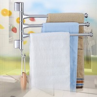 Stainless Steel 3 Rod Rotating Bathroom Towel Bar Belt Clothes Rack Holder BS