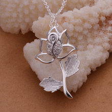 2015 new arrived 925 sterling silver  loverly flower pendant  with chains necklace for women fine jewerly  necklace wholesale