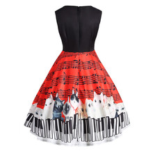 Musical Note Cat Print Dress