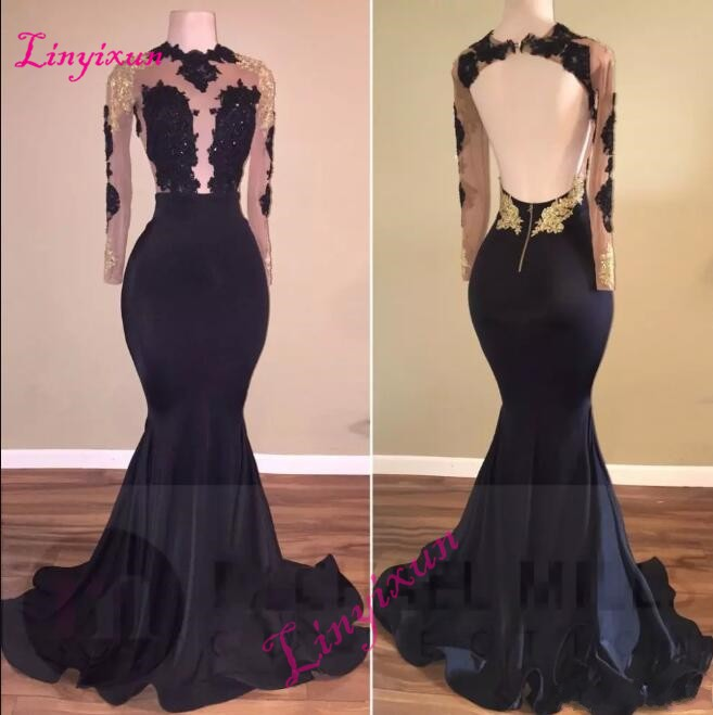 New African Black and Gold Mermaid   Prom     Dresses   Long 2018 High Neck Satin Sexy See Through Open Back Long Sleeve Evening Gown