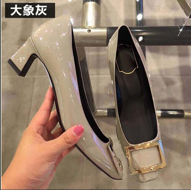 Single shoes patent leather square buckle thick with professional womens shoes shallow mouth new square head with high heelsSingle shoes patent leather square buckle thick with professional womens shoes shallow mouth new square head with high heels