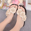 2016 Summer Women Flip Flop Big Camellia Candy Colors Women Sandals Female Clogs Beach Shoes Flats Women Shoes 5d71T