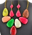European style gold plated Alloy glzed colorful resin geometry necklace earrings set