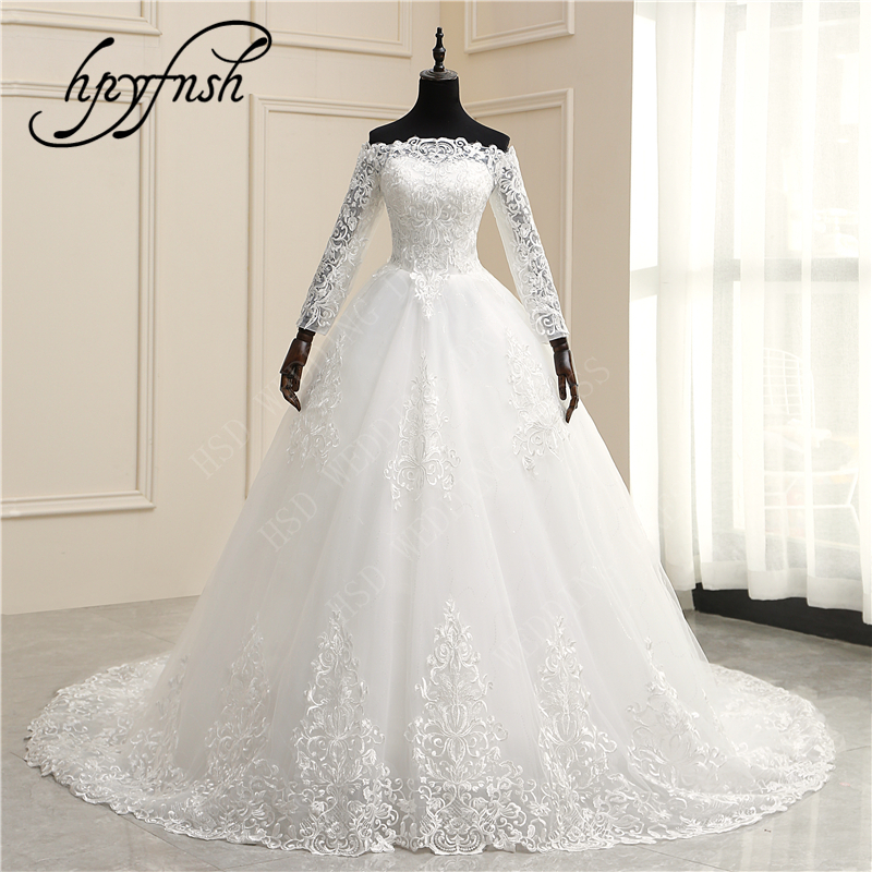 HPYFNSH Lace Train Wedding Dresses Ball Gowns Full Sleeve