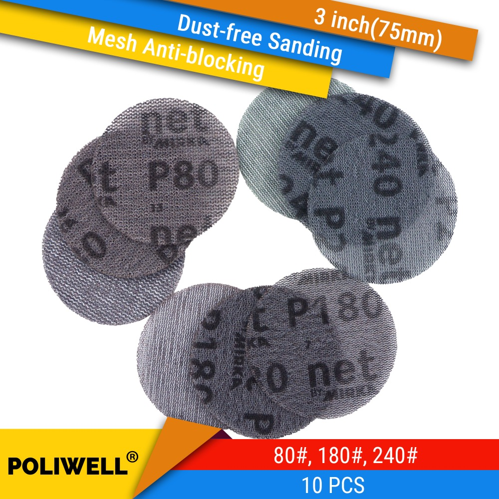 10PCS 3 Inch(75mm) Mesh Dust-free Anti-blocking Hook&Loop Sanding Discs Round Abrasive Sandpaper For Metalworking, 80#/180#/240#