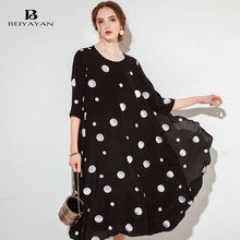 BEIYAYAN 2017 Summer Silk Dress Woman Casual Loose Dot Mid-Calf With Three Quarter Sleeves Dresses Women Daily Dress