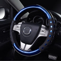 PU Leather 38cm Diameter Car Non-slip Handle Steering Wheel Cover Blue Red Auto Accessories