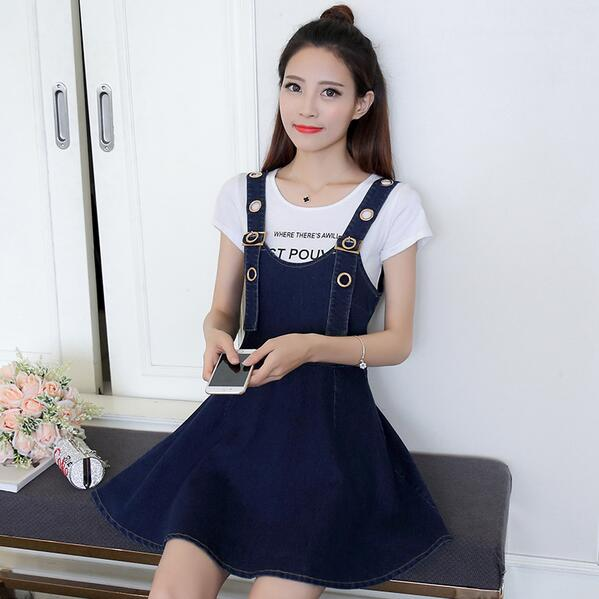 Detail Feedback Questions about 2018 Spring Summer Denim Dresses Women  Casual Jeans Sundresses Korean Fashion Denim Blue Dress For Woman WF147 on  ... 7467fb531acf