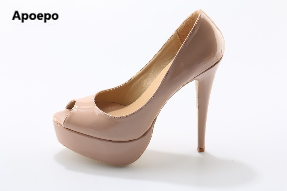 Apoepo brand women shoes peep toe nude pumps 14 cm high heels pumps women sexy platform shoes women new wedding bride shoes avvvxbw 2017 spring women s pumps high heels platform shoes diamond peep toe thin heels sexy women s wedding shoes pumps c372