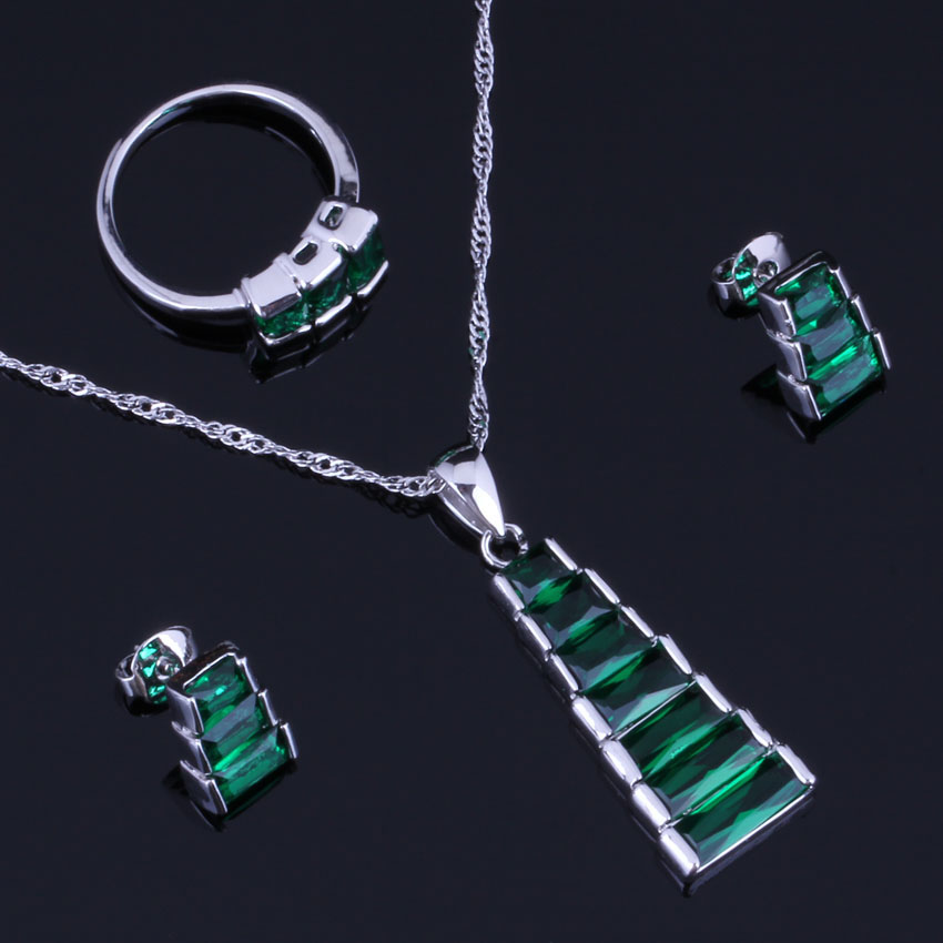 Fascinating Trapezoid Green Cubic Zirconia 925 Sterling Silver Jewelry Sets For Women Earrings Pendant Chain Ring V0962 in Jewelry Sets from Jewelry Accessories