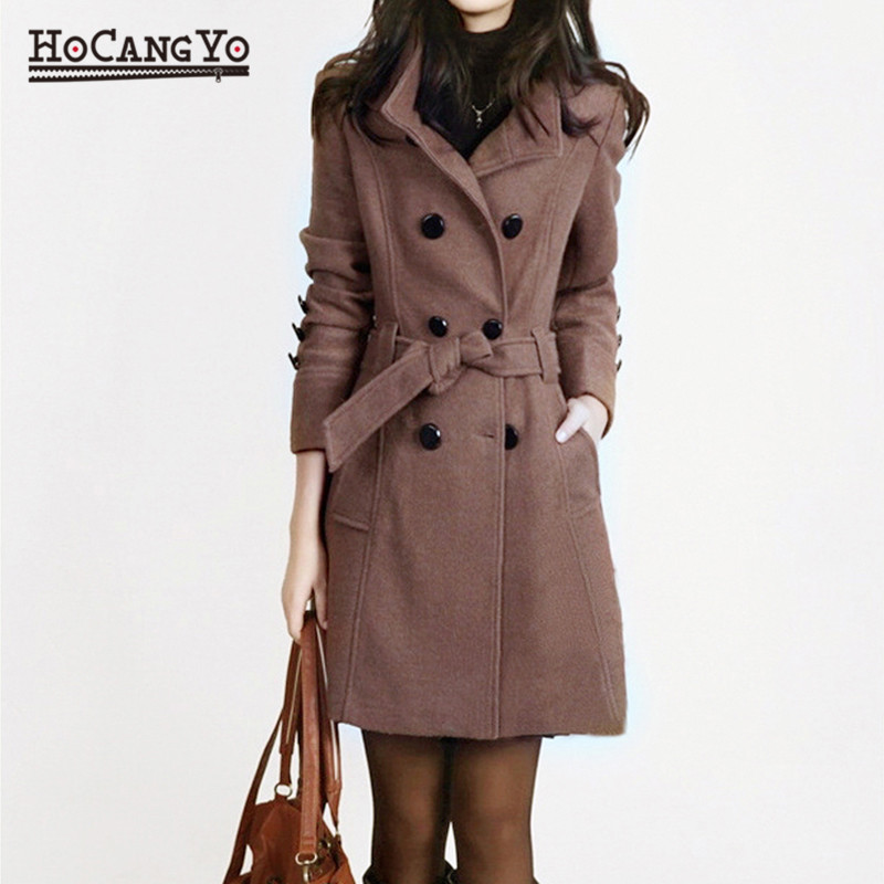 New Women Long   Coat   and Jacket Autumn Winter Elegant Women Wool   Coats   Long Jackets Korean Version Slim Trench   Coat   with Straps