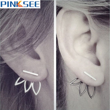 2017 New Hollow Out Leaf Stud Earrings Vintage Lotus Charm Earrings For Women Punk Statement Jewelry Silver Gold Tone piercing vintage hollow out pattern spiral stud earrings