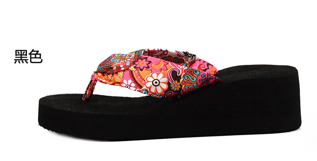83d728c5ea267e Summer bohemia flower Women flip flops platform wedges Women s ...