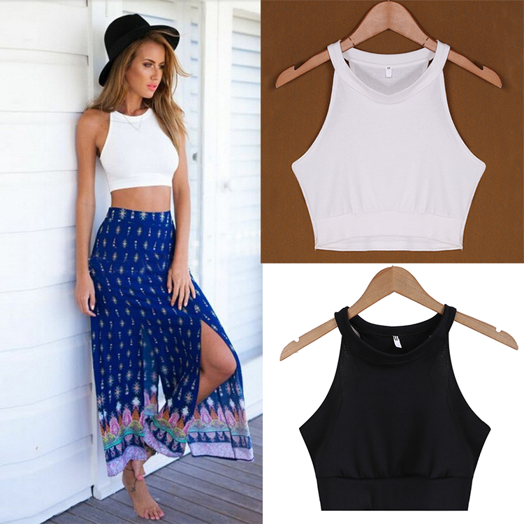 Sexy Crop Top Women Tank Tops Summer Beach Cropped T-Shirts Sleeveless O Neck Halter Solid  Crop Top Women Cropped Streetwear