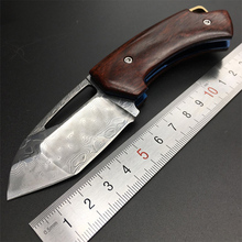 MARS MADAM  New style a sharp Damascus knife  folding knife The rosewood handle Exquisite gift  Outdoor survival tools