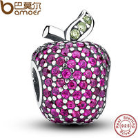NEW Stunning 925 Sterling Silver Red Pave Apple Fancy Red CZ Green Crystal Charm Fit Bracelet