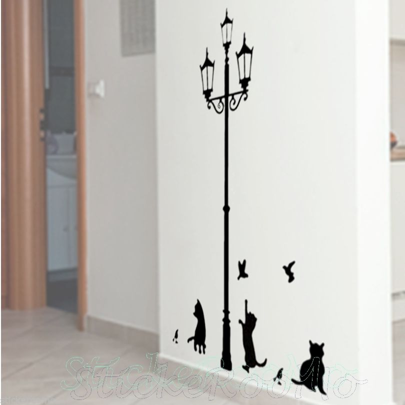 Cat And Lamp Wall Art Room Removable Stickers Vinyl Decal Home Decoration  Decor