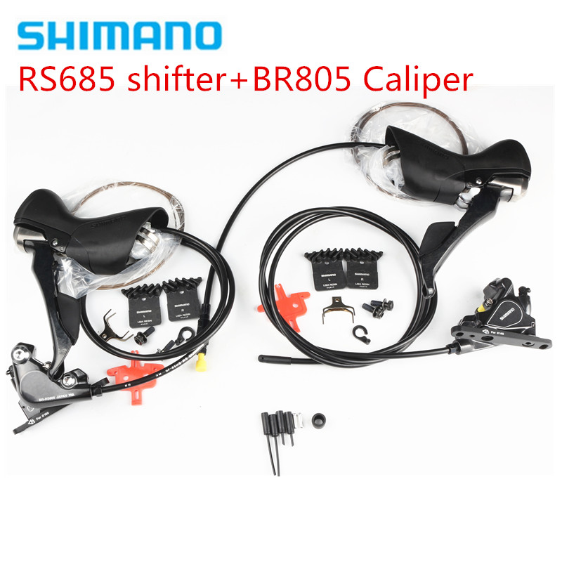 Shimano ST-RS685 Hydraulic Postmount Disc-Brake Set 2x11-speed Shifter & BR-RS805 Disc Brake Flat Mount Caliper for Front/Rear shimano road cyclocross br rs805 disc brake flat mount caliper w fin pads front