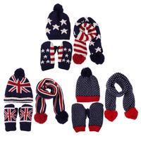 3pcs Children Hat Scarf Gloves Set 2017 Autumn Winter Fashion Baby Warm Knitted Hat Neck Warmer
