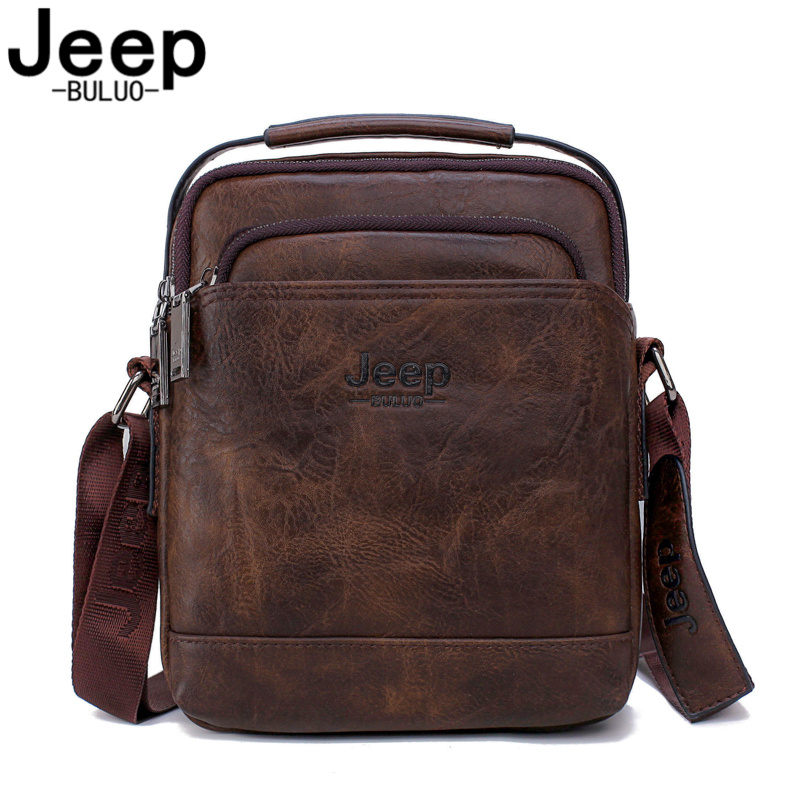 JEEP BULUO Men's Travel New Handbags Hot Sale Male Large Split Leather Men Messenger Bag  Man Fashion Crossbody Shoulder Bags