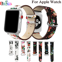 цена на British Rural Floral Leather Wrist Strap for Apple Watch Band Flower Bracelet for iWatch Vintage Watchband 38mm 42mm Wristband