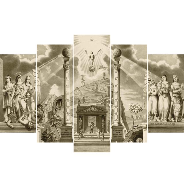 Dropshipping 5 panel HD printed canvas print painting Masonic Lodge ...