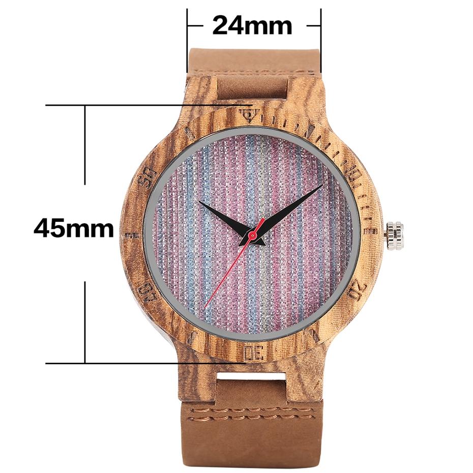 Unique Stripes Lines Dial Wooden Watch Mens Bamboo Creative Quartz Clock Genuine Leather Bangle Reloj de madera 2017 New Fashion  (25)