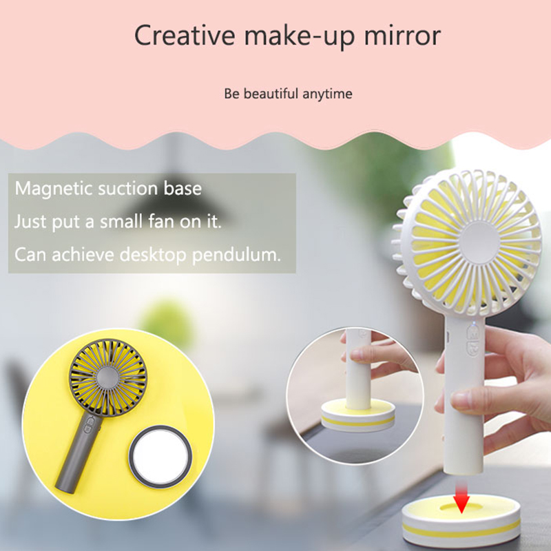 TOMNEW Portable USB Mini Fan Handheld 2000mA Desk 3 Speeds Marcarons Handy Fan with Mirror for Home Office Outdoor