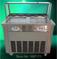 Double Pans Fried Ice Cream Machine for Ice Cream Rolls making with 4 universal wheels 220V 50HZ