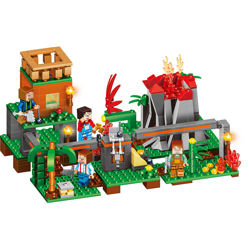My World Series Praia Volcano Base Model Building Blocks Kit Classic Best Children Toy Compatible LegoINGlys Minecrafter 487 Pcs kitaapbr102gycox01761ea value kit best hospitality base cabinet aapbr102gy and clorox disinfecting wipes cox01761ea