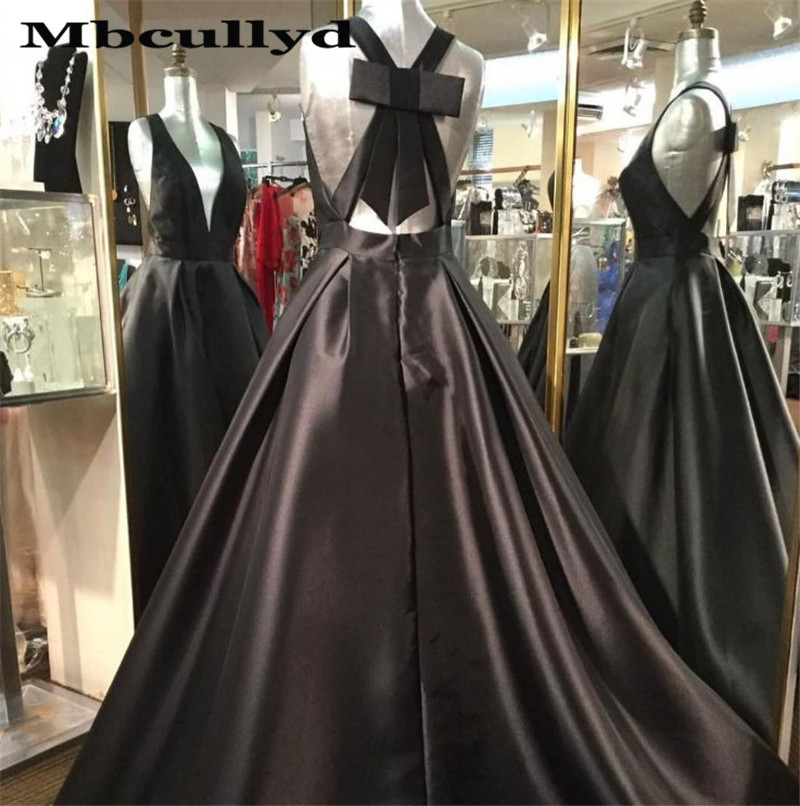 Black Sexy   Prom     Dress   2019 Girl Satin V-neck Evening   Dress   Long Gown With Pockets Party   Dresses   Plus Size Robe De Soiree