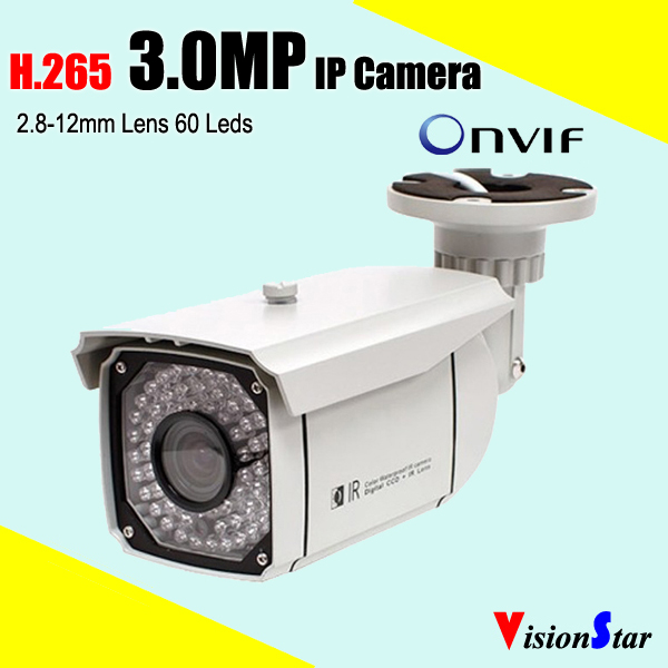 Color cmos h 265 onvif ip camera 3 0mp infrared night vision ir cut network zoom