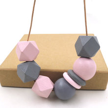 Ожерелье ручной росписи серый и розовый цвет Геометрическая