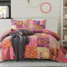 Quality Cotton Patchwork Bedspread Quilt Set 3pcs Coverlet bedding Korea Print Quilts Aircondition Bed Cover King Size Blanket