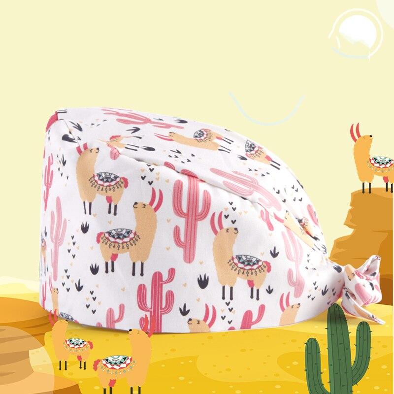 Alpaca Cactus Nurse Surgical Cap Scrub Caps Medical Accessories 100% Cotton With Sweatband Tieback Chef Waitress Work Hats