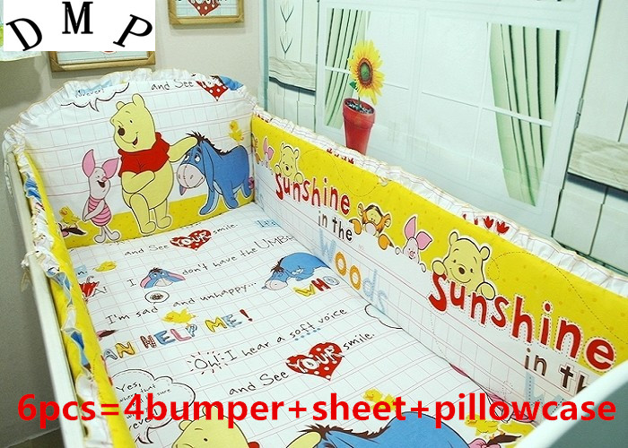 Promotion! 6PCS Baby Crib Bed Linen100% Cotton Baby Bedding Set Baby Girls Bedclothes ,include:(bumper+sheet+pillow cover) promotion 7pcs bed linen100
