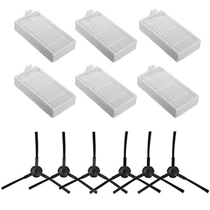 6x Side Brush 6x HEPA Filter Kit For CHUWI Ilife V5s V5 X5 Ilife V3s V3s Pro V3l V5s Pro V50 Robot Vacuum Cleaner Parts
