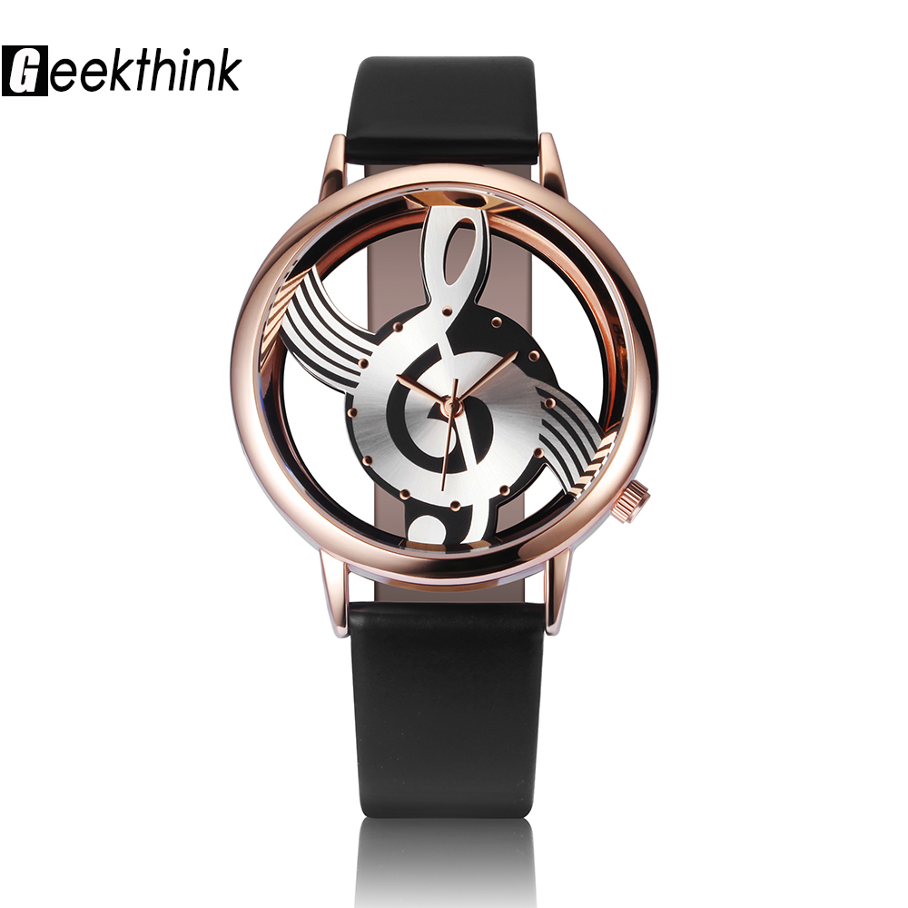 GEEKTHINK Unique Woman Quartz Watch Ladies Analog Hollow Musical Note Style Läder WristWatch Mode Gfit Casual Watch Kvinna
