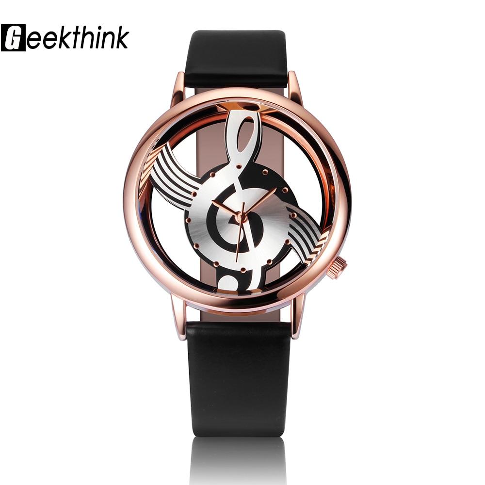GEEKTHINK Унікальний жіночий кварцовий годинник дамський аналоговий порожній музичний нотатка зі шкіри наручний годинник мода Gfit повсякденний годинник жіночий