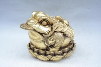 Antiguo raro QingDyansty (QianLong) estatua/escultura de sapo de cobre dorado, peso 2,5 kg, mejor colección y Adorno, envío gratis