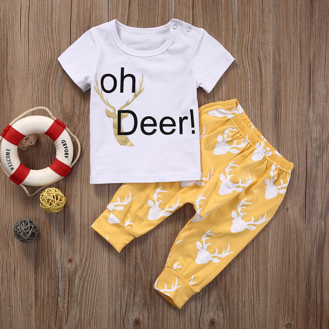 Infant Newborn Baby Boy Girls Deer Print T-shirt Tops+Pants Outfits Set Clothes