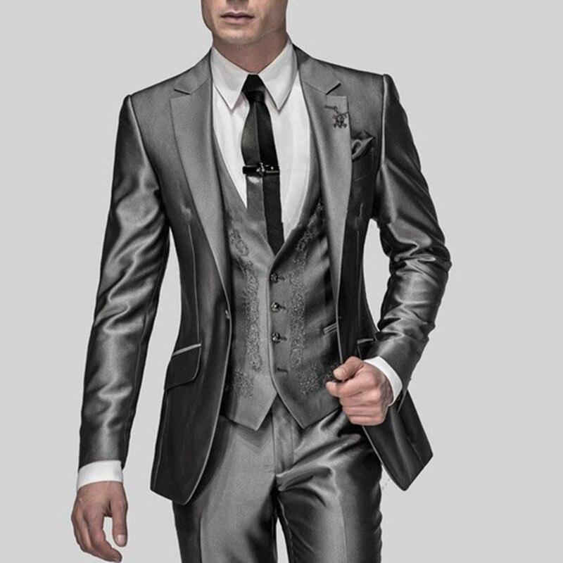 Горячие Продажа Slim Fit Жених Смокинги блестящий серый Best man костюм Нотч дружки Мужчины свадебные костюмы Жених (куртка + брюки + жилет)
