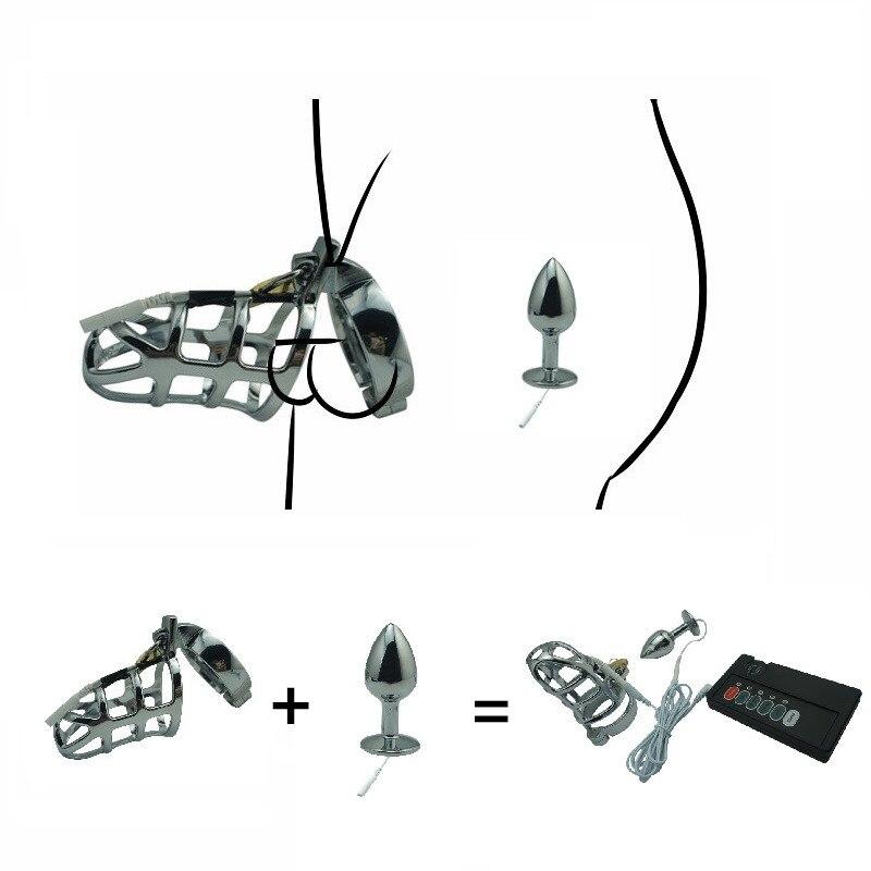 Electro <font><b>shock</b></font> set chastity cock cage SM bondage device CB6000 metal <font><b>anal</b></font> <font><b>butt</b></font> plug <font><b>penis</b></font> <font><b>ring</b></font> <font><b>electric</b></font> stimulation male <font><b>sex</b></font> <font><b>toy</b></font>