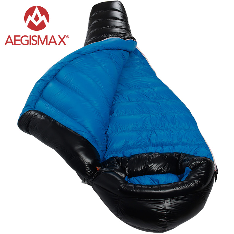 AEGISMAX 2017 new Winter Camping Professional Ultralight Mummy 90 Duck Down Sleeping Bags Splicing sleeping pad