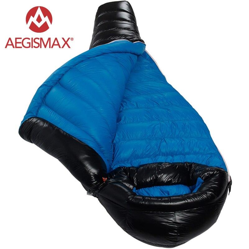 AEGISMAX Новинка 2017 года зима кемпинг Professional Сверхлегкий Мумия 90% утка подпушка спальные мешки Сращивание коврик