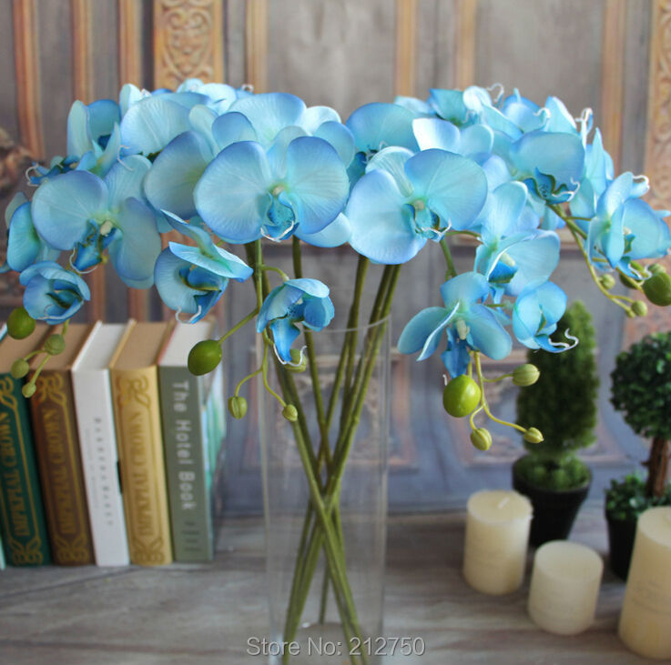 ems fleurs artificielles orchidees papillons bleues long 78cm fleurs en soie petite fleur decorative de phalaenopsis livraison gratuite
