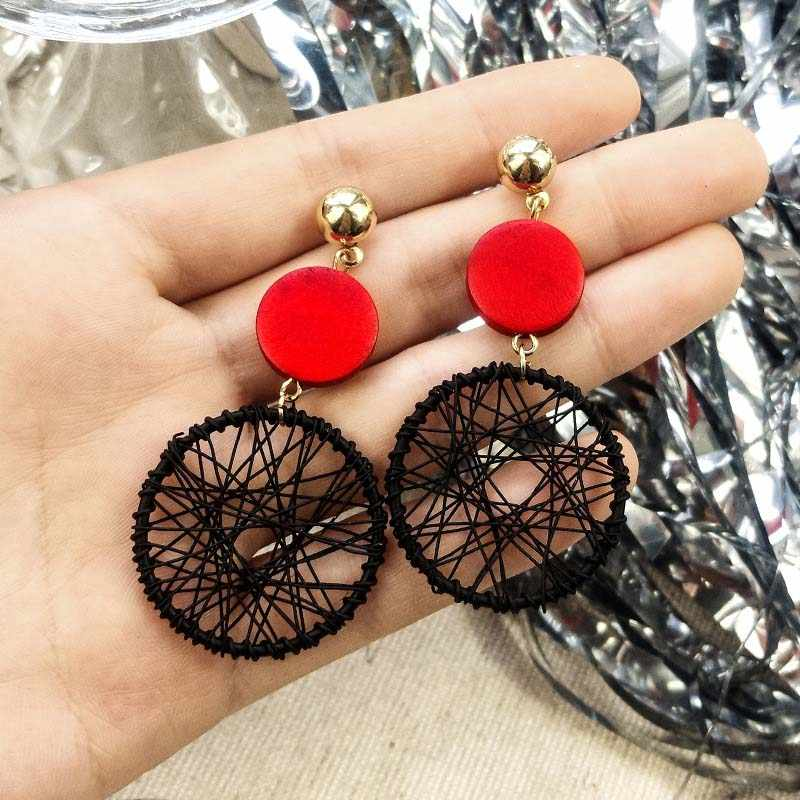 2019 new Korean exaggerated mesh metal round earrings women's fashion sweet long Brinks mixed color earrings