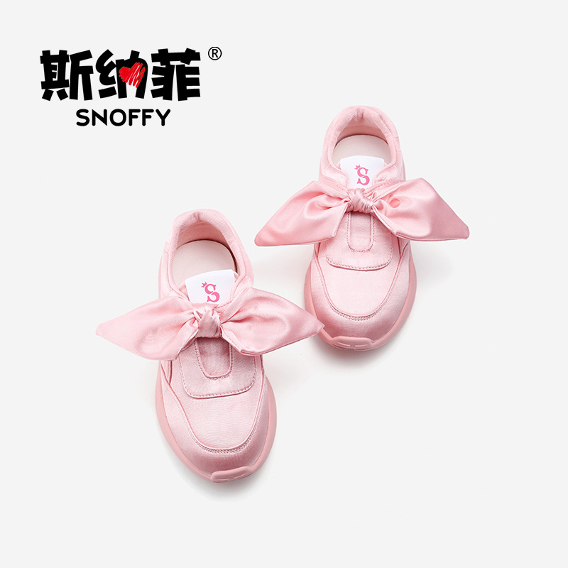 Snoffy Kids Girls Sneaker Bow Chidren Sports Shoes Breathable Kids Running Shoes Fashion Brand Casua Shoe For Girls TX68